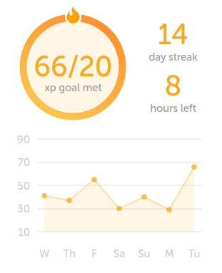 Screenshot of Duolingo personal stats