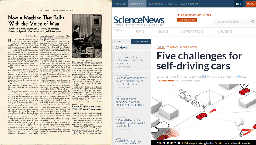 Science News image from 1939 vs. modern screenshot