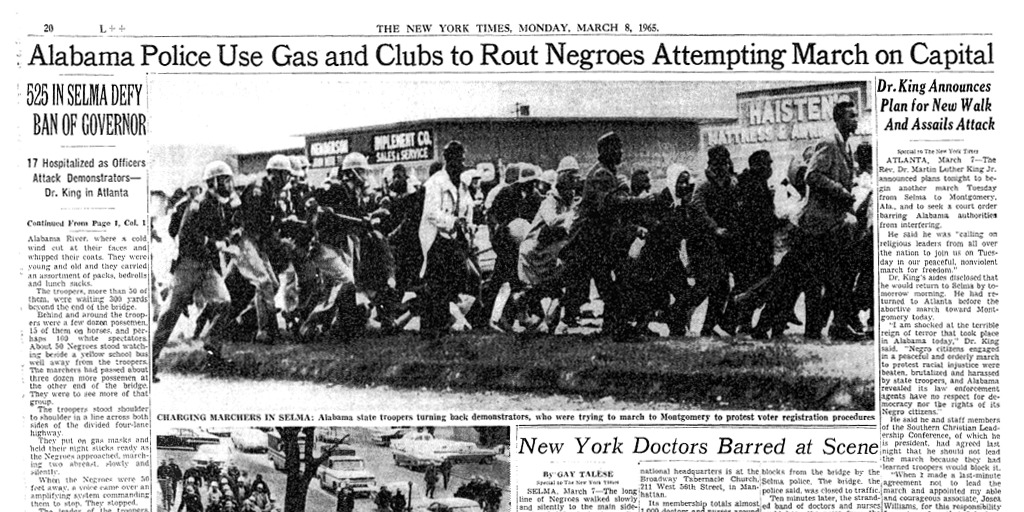 "NYT front page after ""Bloody Sunday"" in Selma"